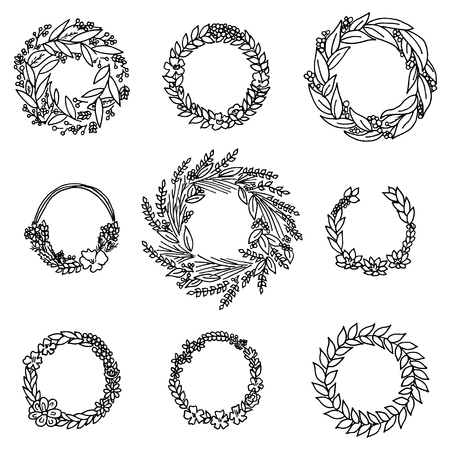 Wreath with flowers. Vector set. Cute Floral collection, hand drawn watercolor. Wedding or greeting cards. Romantic design. Engraved vintage style Иллюстрация
