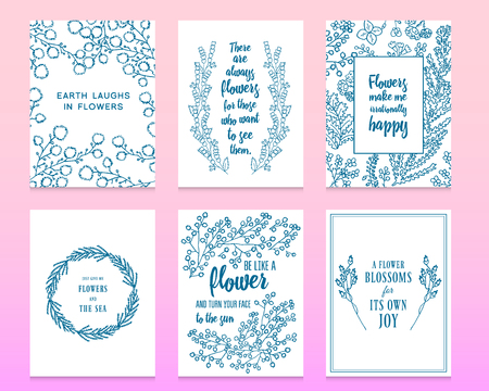 Leaves of flowers. Vector set. Cute Floral collection, hand drawn watercolor. Wedding or greeting cards. Romantic design. Engraved vintage style. branches in nature. card with quote