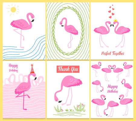 Flamingo or tropical birds illustration for party card. Summer exotic background. Vintage cute banner or spring holiday set