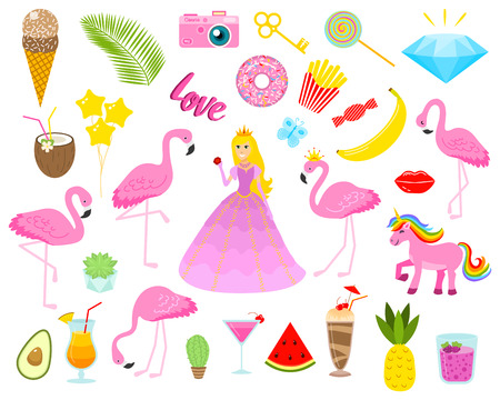 Set of girls fashion cute patches, fun stickers, badges, pins and stickers. Collection different elements. Princess and flamingos, unicorn, milkshakes, candy for notebook. Vector trendy illustration. Иллюстрация