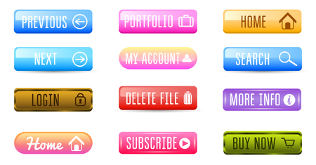 Collection of Web Buttons, Vector Templates, banners and labels, media. Ribbons icons for website or app, navigation menu bars. Elements Set.