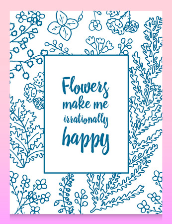 Leaves of flowers. Vector set. Cute Floral collection, hand drawn watercolor. Wedding or greeting cards. Romantic design. Engraved vintage style. branches in nature. card with quote.