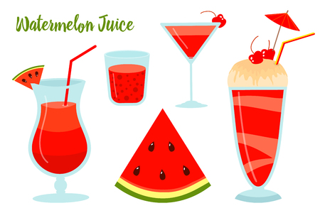 Watermelon summer juice or smoothies. Vegetarian organic drink for diet and health. Red tropical cocktail. Natural fresh Vitamin. Tropical Fruit. Иллюстрация