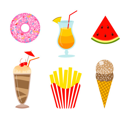 Summer food. Donut and orange drink or lemonade, watermelon and ice cream, milkshake and french fries. Fun sticker for Girl, fashion cute patch, icons. Trendy Collection different element for notebook Иллюстрация