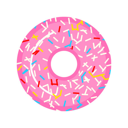 A beautiful pink donut with raspberries and candies. Sweet food for girls. Design for sticker, website. Modern baking for the menu