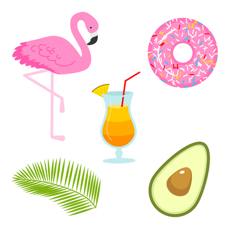 Summer icons. flamingo and drink, avocado and tropical palm. Fun sticker for Girl, fashion cute patch, badge, pin. Collection different elements for notebook. Vector trendy illustration