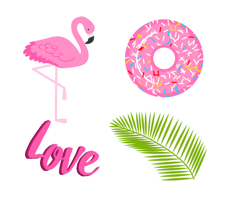 Summer icons. flamingo and tropical palm. Fun sticker for Girl, fashion cute patch, badge, pin. Collection different elements for notebook. Vector trendy illustration
