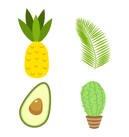 Summer icons. drink, avocado and tropical palm. Fun sticker for Girl, fashion cute patch, badge, pin. Collection different elements for notebook. Vector trendy illustration. Иллюстрация