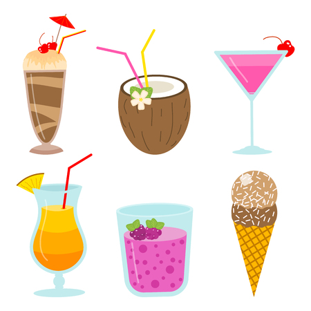 cocktails and milkshakes, drinks juices and coconut milk, smoothies with chocolate and berries, vegetarian organic healthy food. fruit food. Иллюстрация