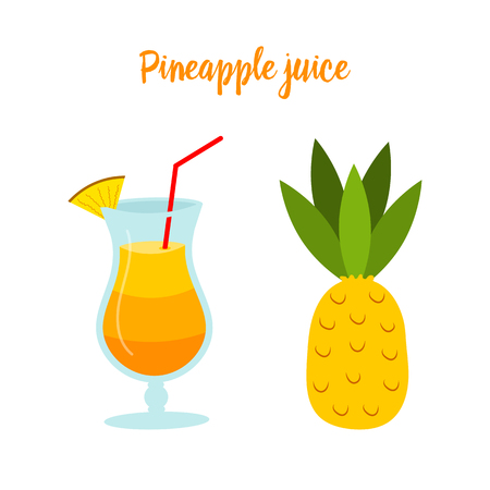 Pineapple juice or a cocktail in a glass. Tropical Fruit for Diet and Health. Organic Vitamin for Vegetarians.