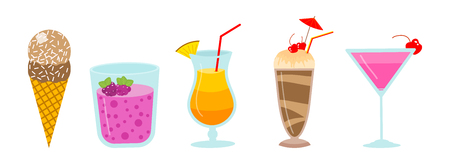 cocktails and milkshakes, drinks juices and coconut milk, smoothies with chocolate and berries, vegetarian organic healthy food. fruit food Иллюстрация