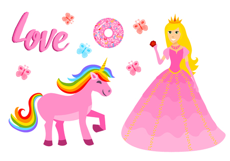 Set of girls fashion cute patches, fun stickers, badges, pins and stickers. Collection different elements. Princess and flamingos, unicorn, milkshakes, candy for notebook. Vector trendy illustration
