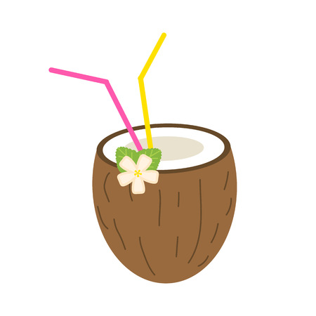 Coconut summer juice or smoothies with straws. Vegetarian organic drink for diet and health. Red tropical cocktail. Natural fresh Vitamin. Tropical Fruit. Aloha and jungle
