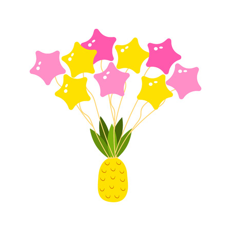 tropical pineapple and balls in the sky are flying. citrus vegetarian food. cute sticker for girls Иллюстрация