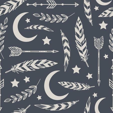 Seamless pattern with arrows and feathers Illusztráció