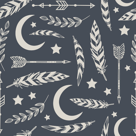 Seamless pattern with arrows and feathers Illustration