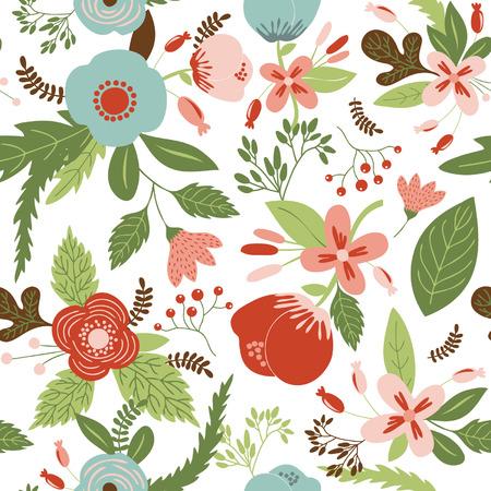 Pattern with spring flowers Illusztráció
