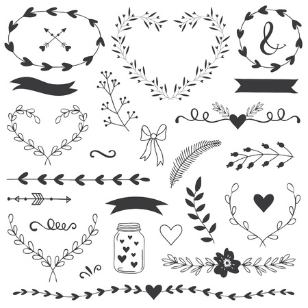 愛とロマンチックなイラストやタイポグラフィ幸せなバレンタインの日のため。母の日、誕生日の招待状結婚式のテンプレートです。心の花、リボ  イラスト・ベクター素材