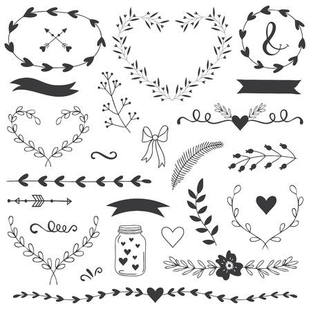 flores de cumplea�os: Ilustraciones y tipograf�a rom�nticos y amor para Happy Valentines Day. Plantilla para la boda, d�a de madres, cumplea�os, invitaciones. Corazones, flores, cintas, guirnaldas, laureles, tarro.