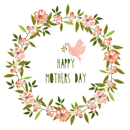 mothers day: Happy mothers day card. Bright spring concept illustration with flowers in vector Illustration