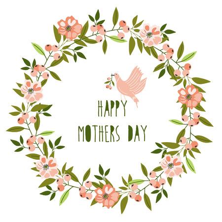madre: Madres feliz tarjeta del d�a. Brillante ilustraci�n del concepto de la primavera con las flores en el vector Vectores