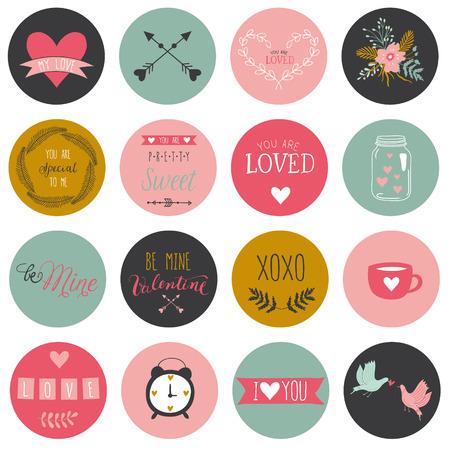 Adesivi romantici e l'amore e tag per San Valentino. Happy Modello per la cerimonia nuziale, il giorno di madri, il compleanno, inviti. Cuori, fiori, nastri, corone, allori, vaso. Archivio Fotografico - 36826427