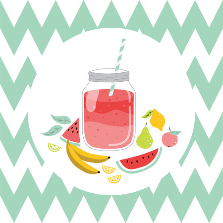 Jar with smoothie and fruits. Vector hand dawn illustration. Stock fotó - 37218329