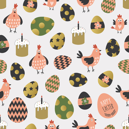 Seamless pattern with easter eggs and chickens. Stock fotó - 37218342