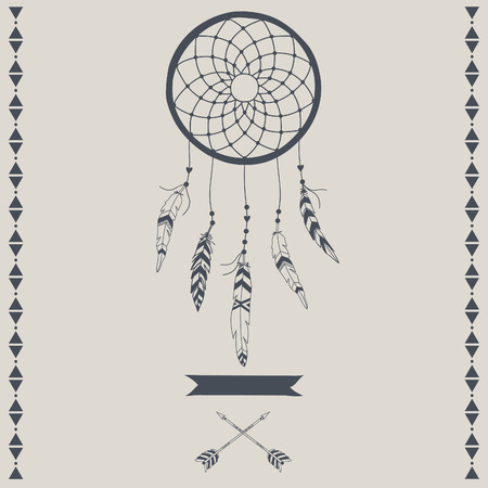 catcher: Indian Dream catcher. Vector illustration.