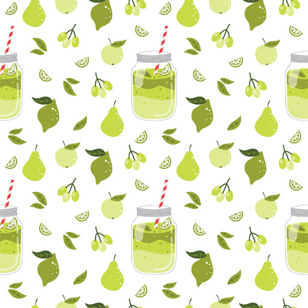 Seamless pattern with smoothie and fruits. Stock fotó - 37556782