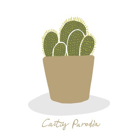 Urban jungle, trendy home decor with plant in handing pots handrawn in vector flat doodly cartoon style