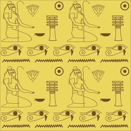 gods: pattern of Egyptian hieroglyphics vector illustration. Cloth design.