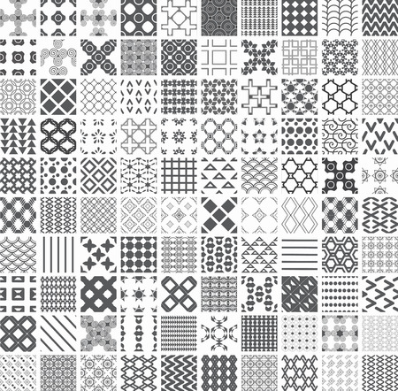 100 seamless Set of monochrome geometric patterns Vector