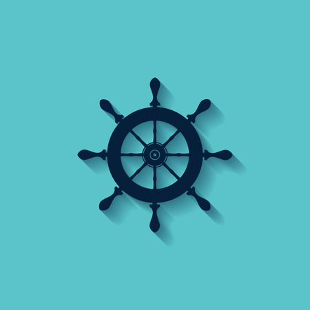 marine steering wheels l vector icon - vector illustration Illustration