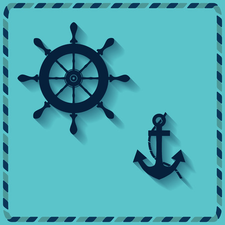 vellum: nautical wheel and anchor on a blue background vector icons