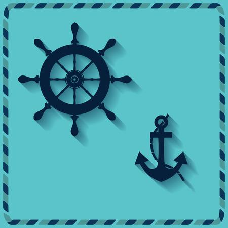 vellum: Ruota nautico e ancoraggio su sfondo blu icone vettoriali Vettoriali