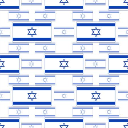 israeli flag: seamless pattern with symbols of the Israeli flag - vector illustration