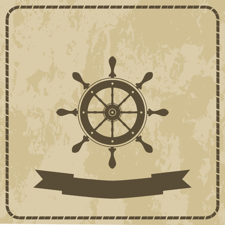 vellum: marine the wheel the wheel the wheel on grunge background icon vector.
