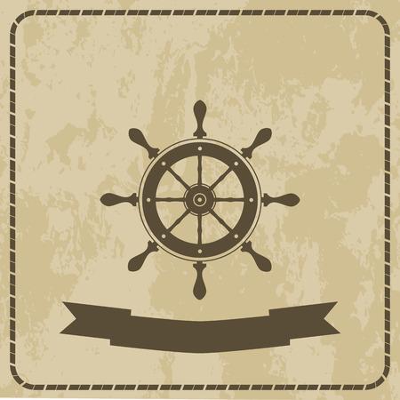 vellum: marino la ruota ruota la ruota su fondo grunge vettore icona.