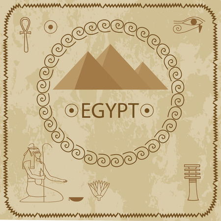 decoding: Pyramids, hieroglyphics, Egypt - vector illustration on grunge background