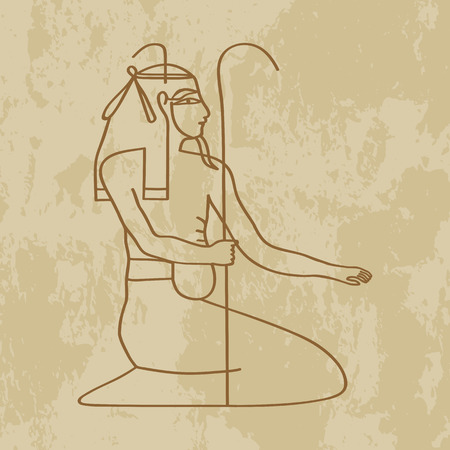 egyptian culture: God of Egypt nun on grunge background - vector illustration