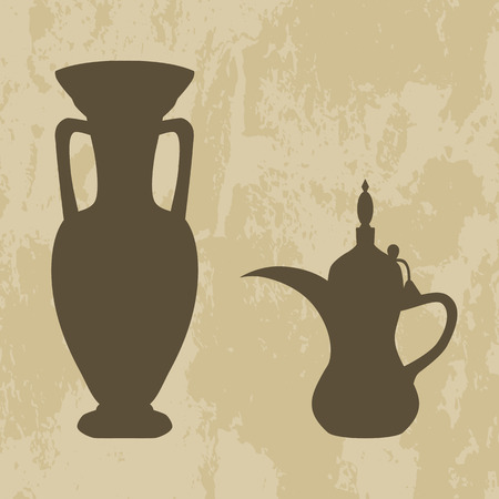 context: jug and coffee pot Arabic on grunge background -vector illustration
