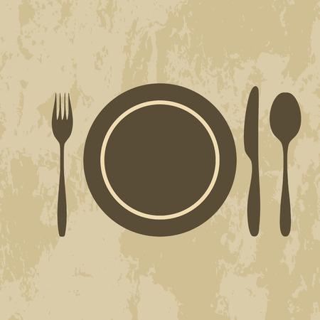 knife fork spoon: plate, knife, fork, spoon on grunge background - icons set vector illustration