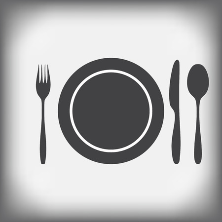 fork and spoon: plate  knife fork  spoon - icons set vector illustration Illustration