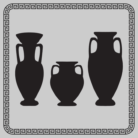 vases: antique vases and a jug on a gray background - vector illustration