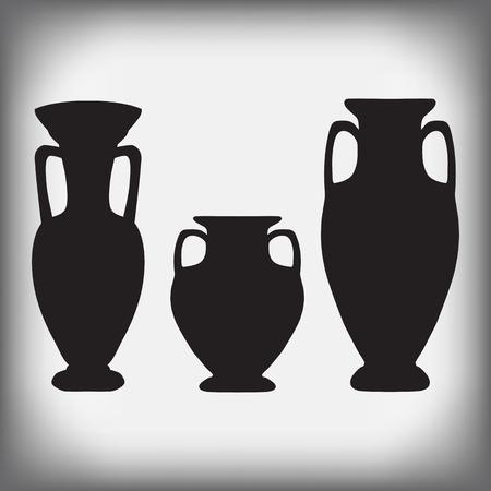 archaeological: jarrones antiguos y una jarra en un fondo gris - ilustraci�n vectorial