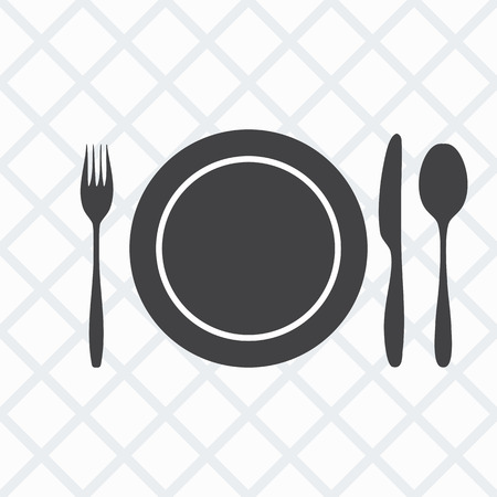 knife fork spoon: plate, knife, fork, spoon. The background in gray and white square diagonally. Vector illustration.  Illustration