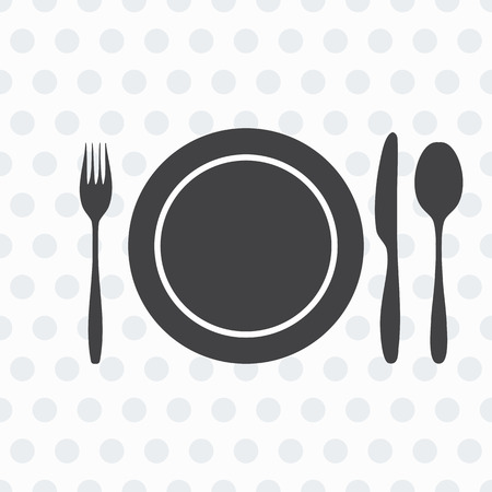 knife fork spoon: plate, knife, fork, spoon. The background in gray and white circle. Vector illustration. Illustration
