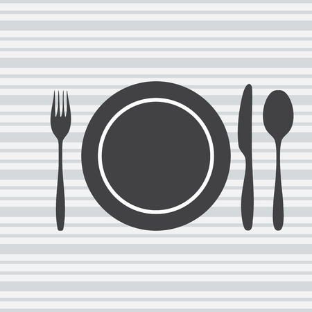 knife fork spoon: plate, knife, fork, spoon  the background in gray and white stripes. Vector illustration.