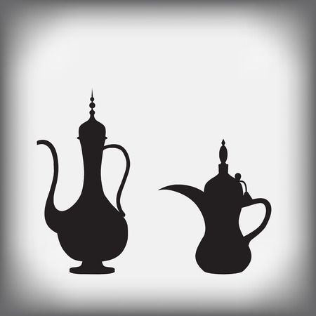 arabic: Arab old jug and coffee pot. Vector illustration.
